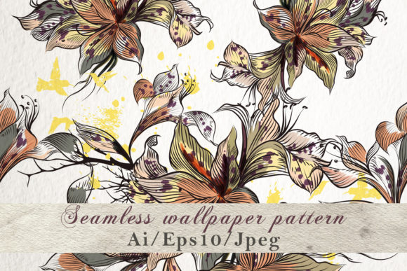 Download Free Pattern With Vector Hand Drawn Flowers Graphic By Fleurartmariia for Cricut Explore, Silhouette and other cutting machines.