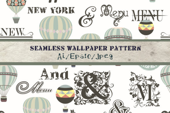 Retro Pattern with Air Balloons Vector Graphic Patterns By fleurartmariia
