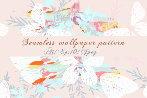 Abstract Pattern with Vector Butterflies Graphic By fleurartmariia