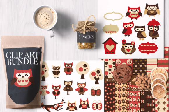Print on Demand: Valentine Owls Bundle Graphic Illustrations By Revidevi