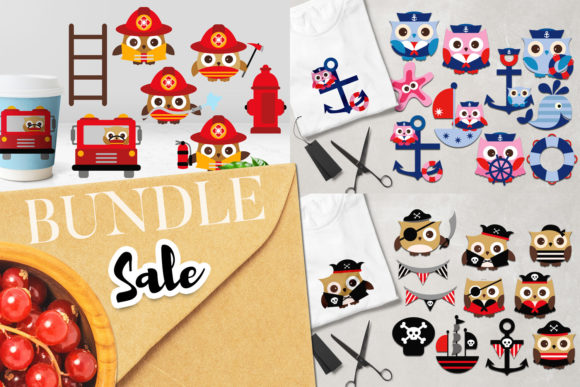 Print on Demand: Owls in Costumes Bundle Graphic Illustrations By Revidevi