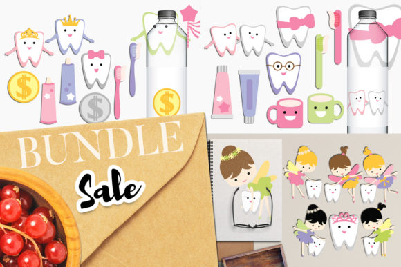 Print on Demand: Tooth Fairy Dental Bundle Graphic Illustrations By Revidevi - Image 1