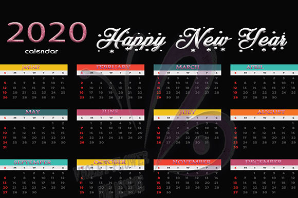 Download Free Printable Calendar 2020 Graphic By Heba Morsy Creative Fabrica for Cricut Explore, Silhouette and other cutting machines.