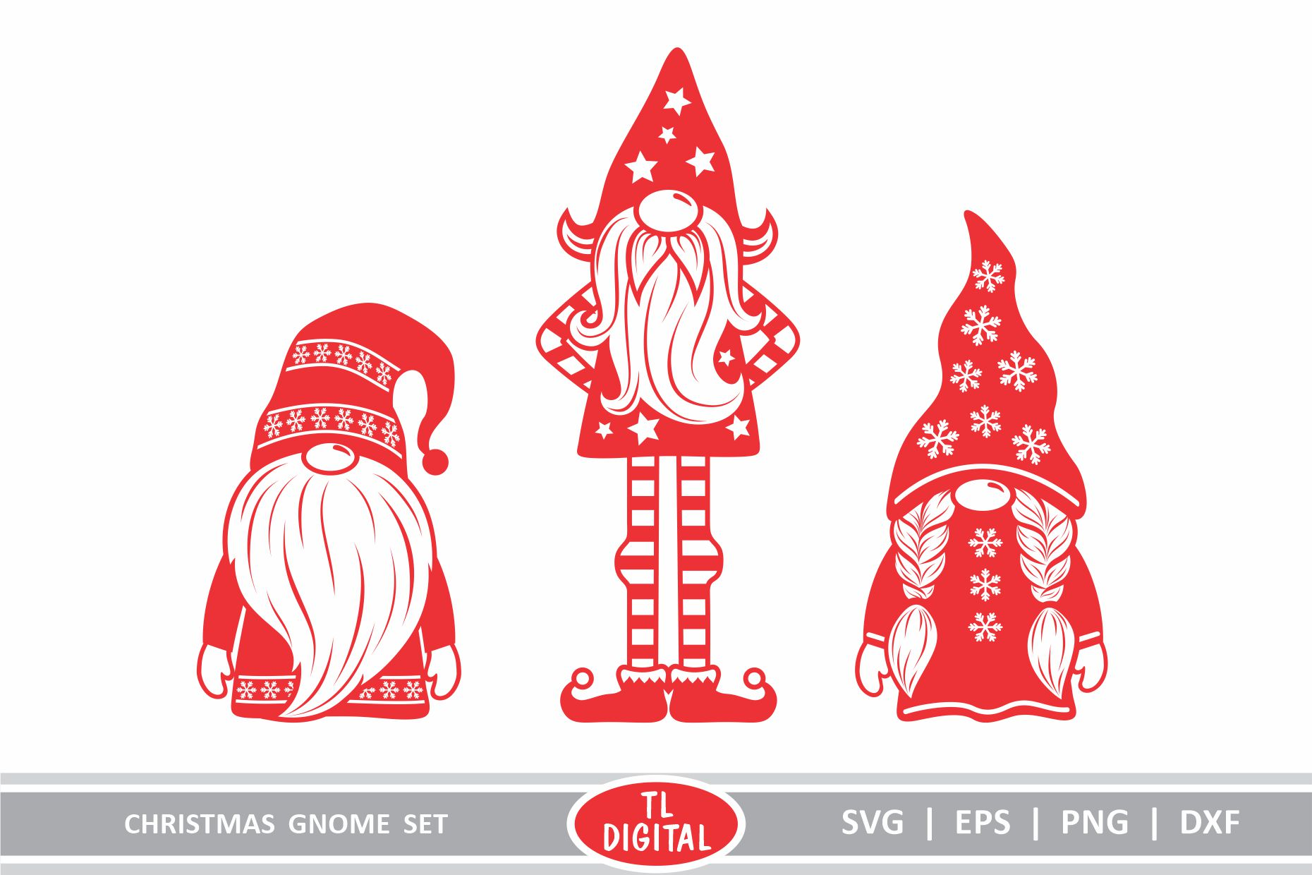 Download Free Christmas Gnomes Set Of 3 Graphic By Tl Digital Creative Fabrica for Cricut Explore, Silhouette and other cutting machines.