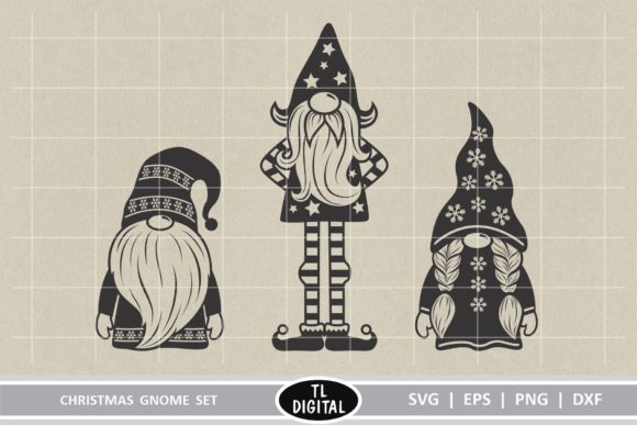 Christmas Gnomes Set of 3 Graphic Illustrations By TL Digital - Image 2