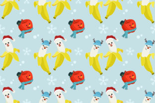 Download Free Cute Banana Apple Christmas Pattern Graphic By Ranger262 SVG Cut Files