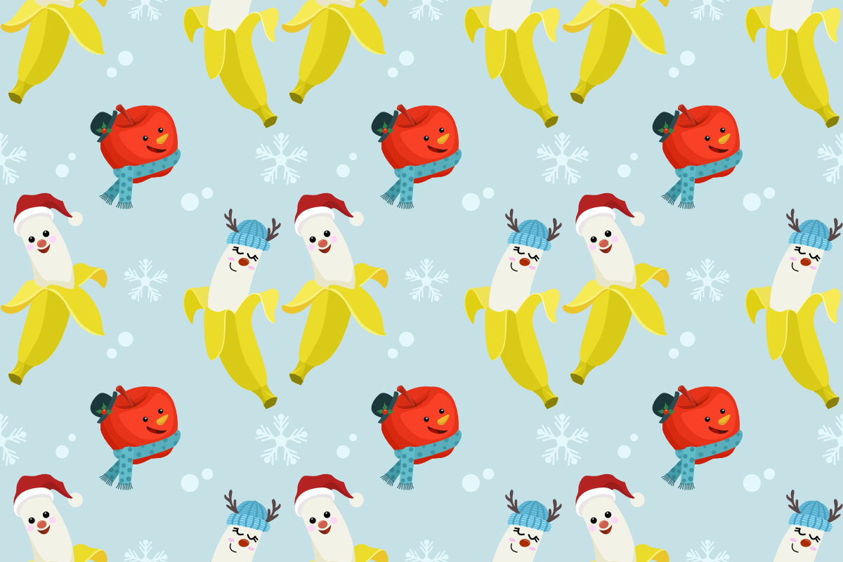 Download Free Cute Banana Apple Christmas Pattern Graphic By Ranger262 for Cricut Explore, Silhouette and other cutting machines.