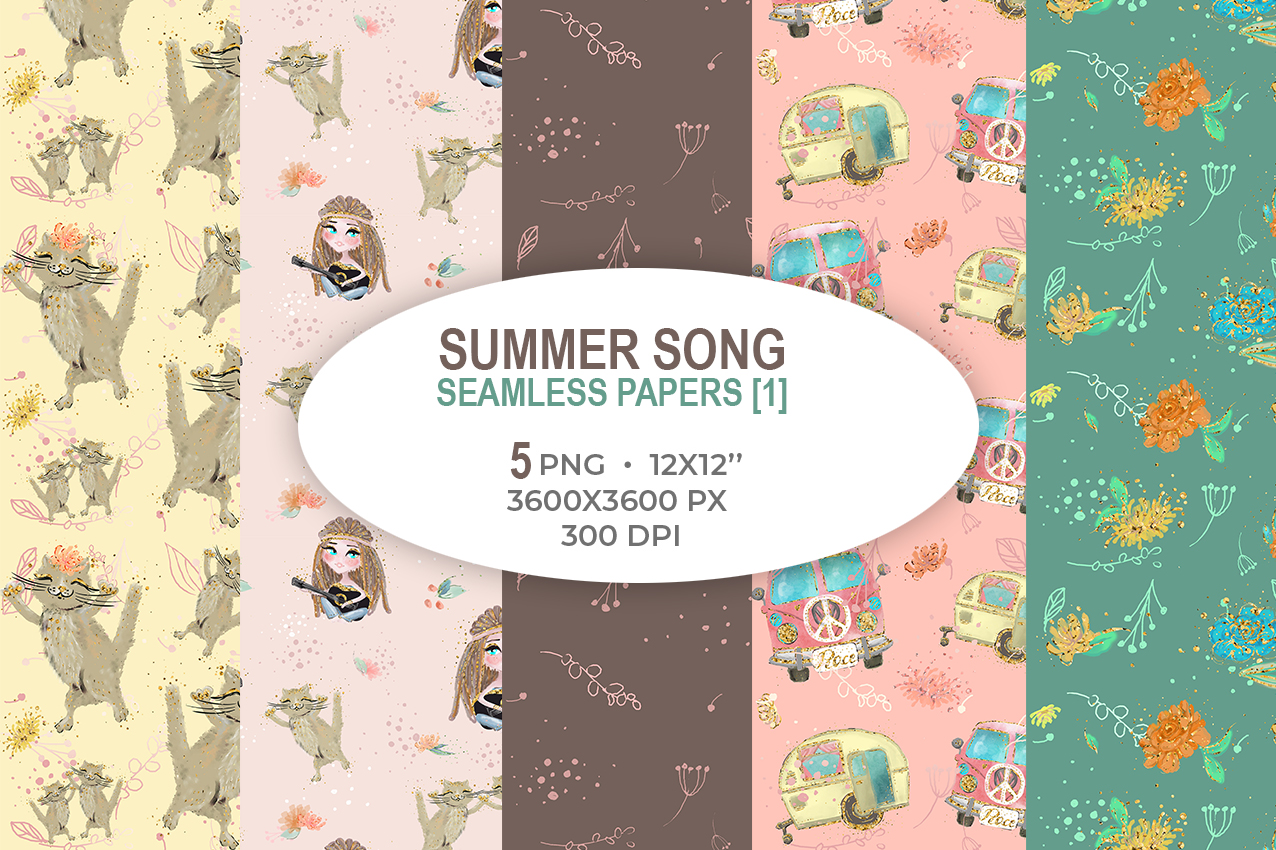Summer Song Seamless Papers 1 Graphic By Ramandu Creative Fabrica