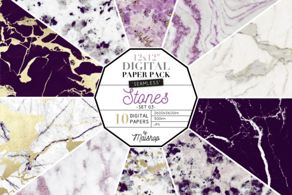 Print on Demand: Digital Paper Stones Set Graphic Patterns By Maishop - Image 1