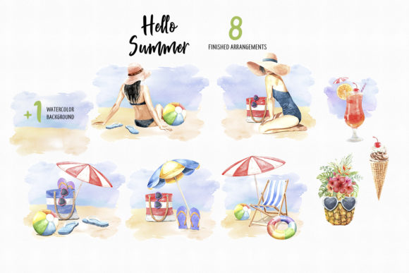 Print on Demand: Watercolor Women on Summer Beach Party Graphic Illustrations By SapG Art - Image 4