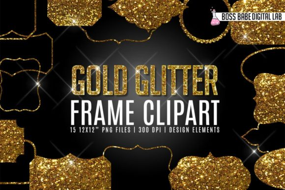Print on Demand: Gold Glitter Frame Clipart Graphic Objects By bossbabedigitallab