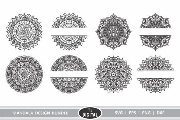 Download Free Mandala Design Bundle 8 Unique Designs Graphic By Tl Digital for Cricut Explore, Silhouette and other cutting machines.