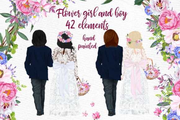 Wedding Clipart Flower Girl and Page Boy Gráfico Por LeCoqDesign