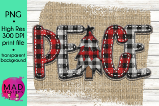 Peace Buffalo Plaid Christmas Tree Graphic By maddesigns718