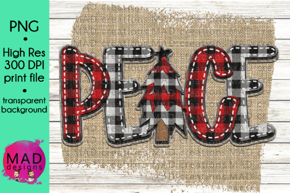 Peace Buffalo Plaid Christmas Tree Grafik von maddesigns718