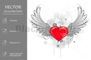 Download Free Red Heart With Wings Graphic By Blackmoon9 Creative Fabrica for Cricut Explore, Silhouette and other cutting machines.
