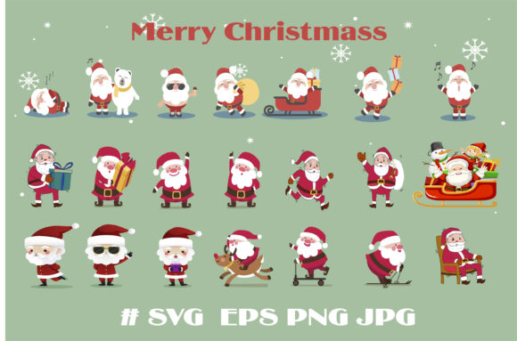 Merry Christmas with Santa Claus so Cute Graphic Logos By huycdt4