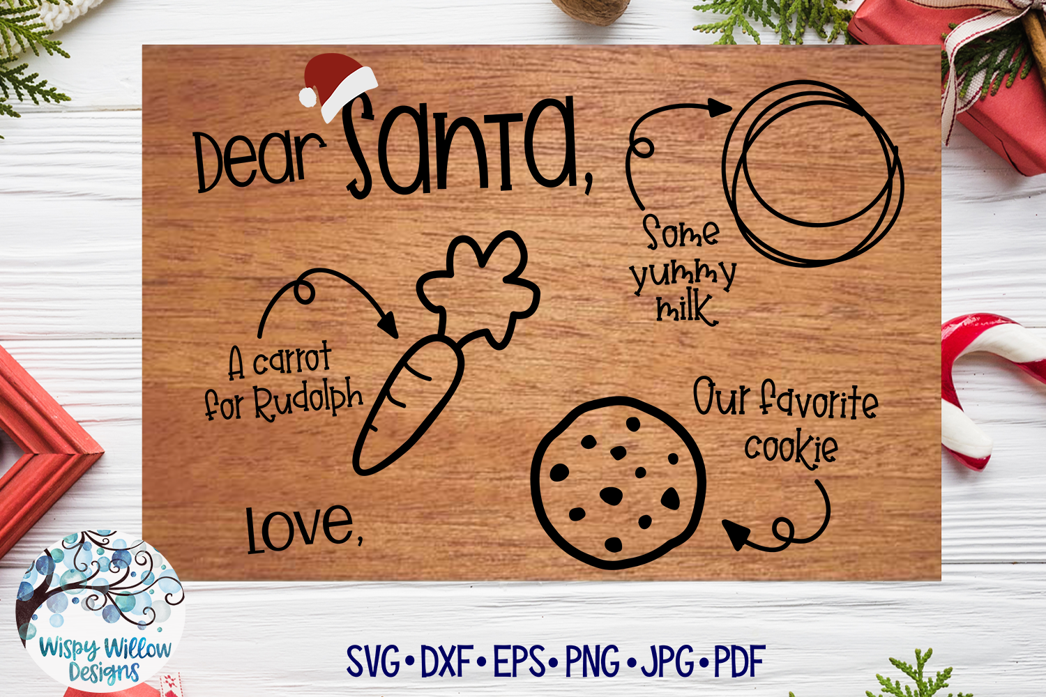 Download Free Christmas Eve Santa Tray Graphic By Wispywillowdesigns for Cricut Explore, Silhouette and other cutting machines.