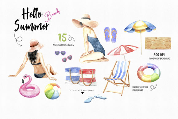 Print on Demand: Watercolor Women on Summer Beach Party Graphic Illustrations By SapG Art - Image 2
