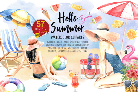 Print on Demand: Watercolor Women on Summer Beach Party Graphic Illustrations By SapG Art