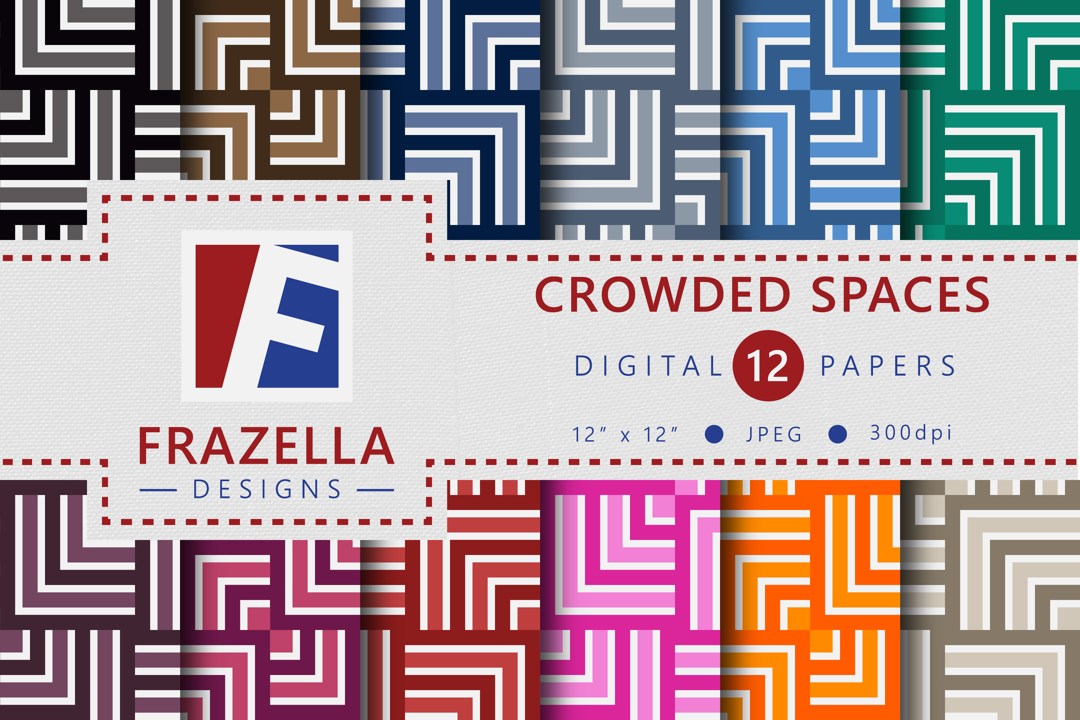 Download Free Crowded Spaces Geometric Digital Papers Graphic By Frazella for Cricut Explore, Silhouette and other cutting machines.