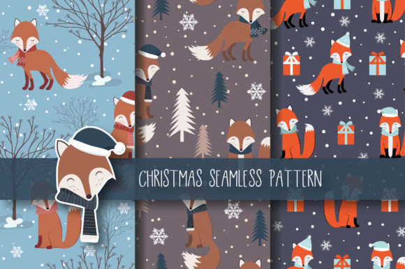Christmas Seamless Pattern Fox Graphic By JANNTA