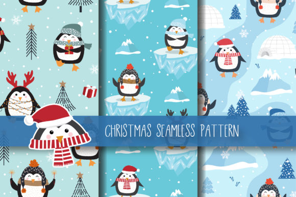 Download Free Christmas Seamless Pattern Penguin Graphic By Jann Creative for Cricut Explore, Silhouette and other cutting machines.