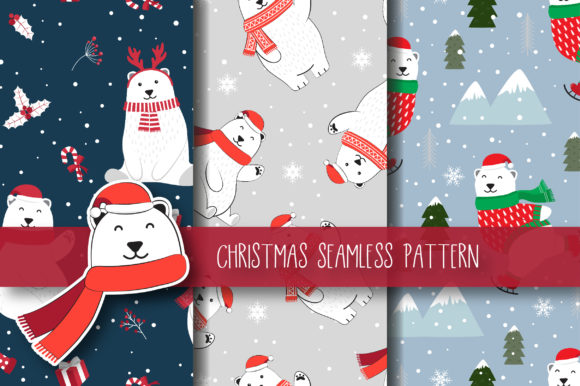 Christmas Seamless Pattern Polar Bear Graphic By JANNTA