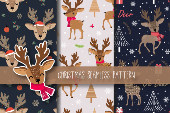 Print on Demand: Christmas Seamless Pattern Reindeer Graphic Patterns By jannta - Image 1