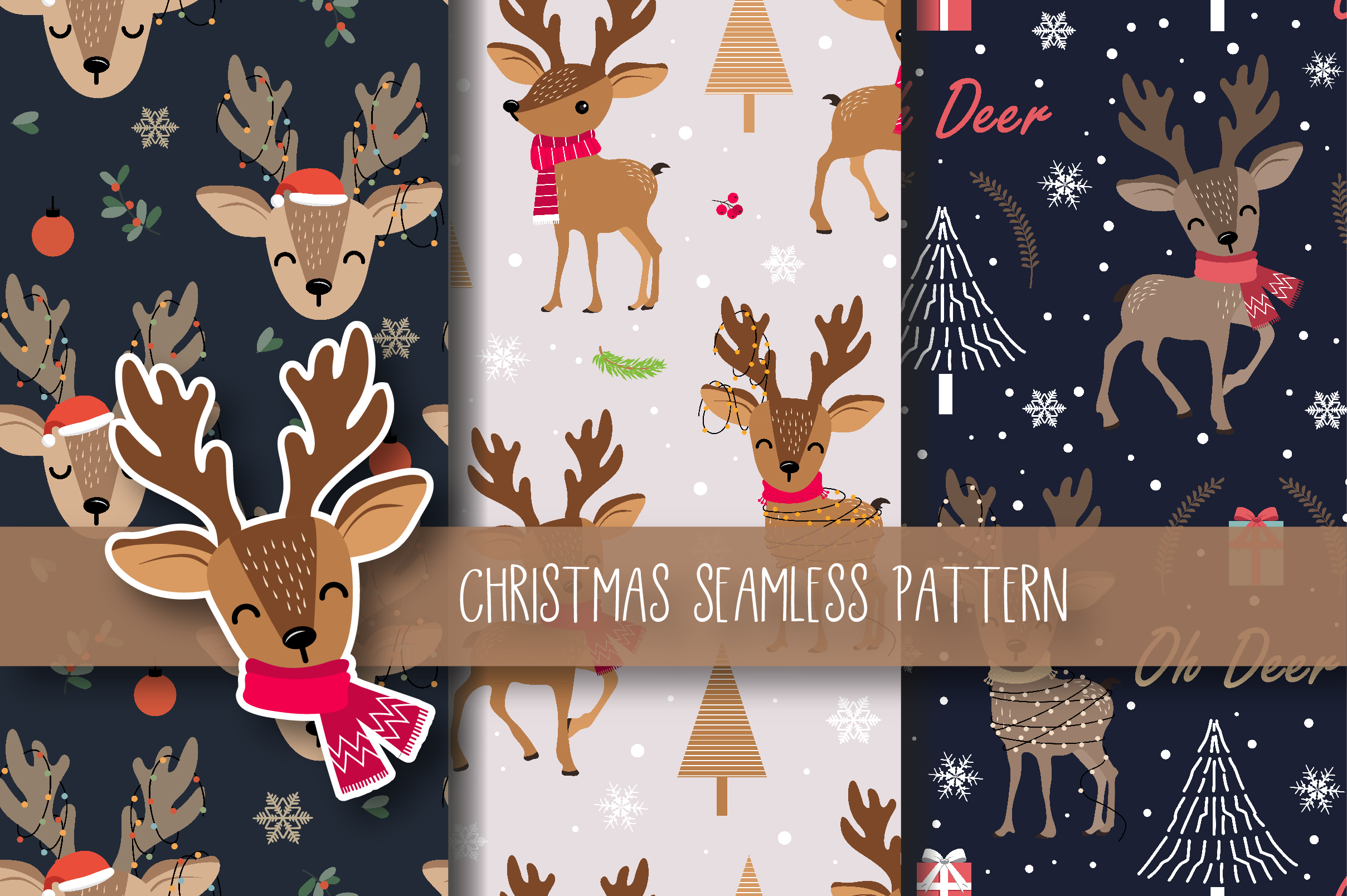 Download Free Christmas Seamless Pattern Reindeer Graphic By Jannta Creative for Cricut Explore, Silhouette and other cutting machines.
