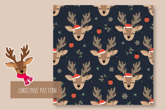 Print on Demand: Christmas Seamless Pattern Reindeer Graphic Patterns By jannta - Image 5