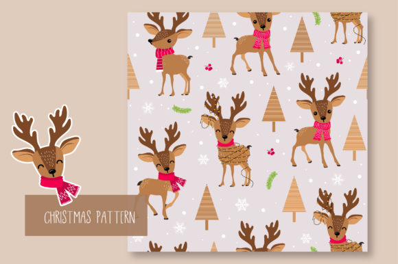 Print on Demand: Christmas Seamless Pattern Reindeer Graphic Patterns By jannta - Image 6