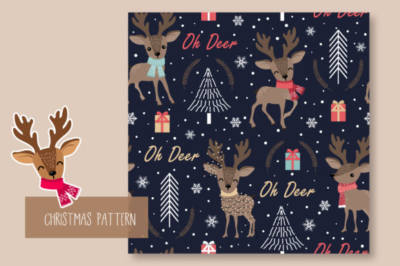 Print on Demand: Christmas Seamless Pattern Reindeer Graphic Patterns By jannta - Image 7