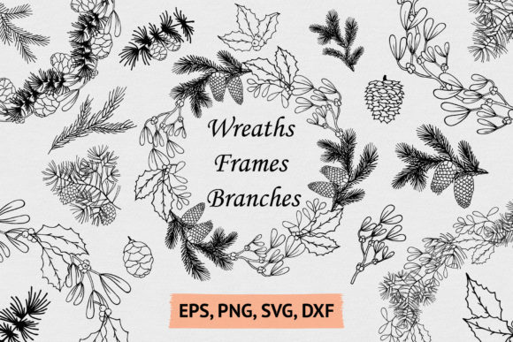 Hand Drawn Wreaths, Frames and Branches Graphic Illustrations By Kirill's Workshop
