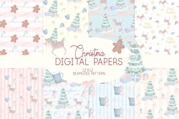 Print on Demand: Christmas Digital Papers Graphic Patterns By lilyuri0205