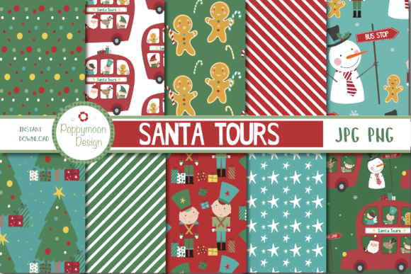 Print on Demand: Santa Tours Paper Graphic Patterns By poppymoondesign - Image 1