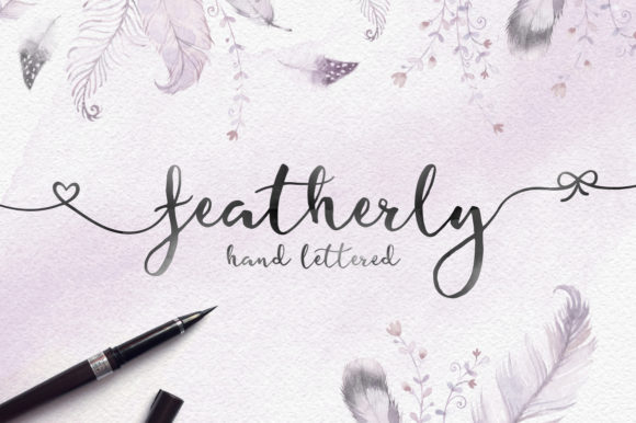 Featherly Hand Lettered Script & Handwritten Font By joanne.hewitt
