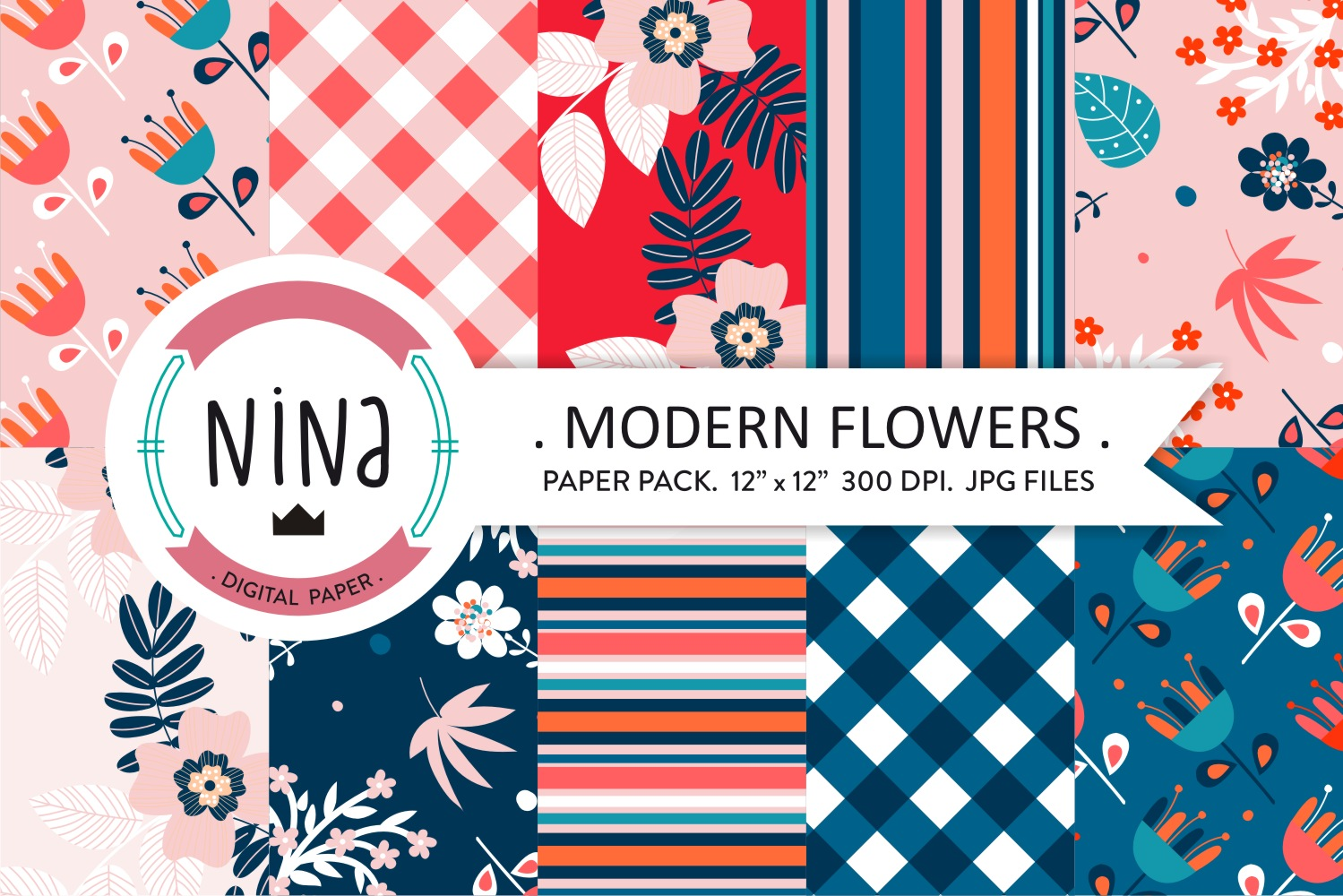 Download Free Modern Flower Digital Paper Floral Graphic By Nina Prints for Cricut Explore, Silhouette and other cutting machines.