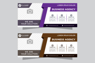 Horizontal Banner Flat Purple Brown Graphic By noory.shopper