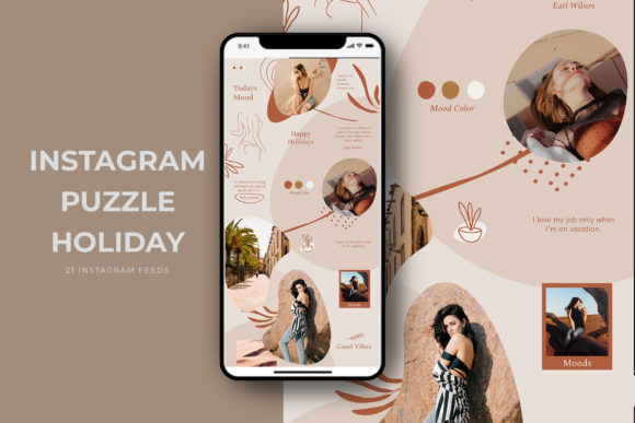 Download Free Instagram Puzzle Holiday Templates Graphic By Qohhaarqhaz Creative Fabrica for Cricut Explore, Silhouette and other cutting machines.