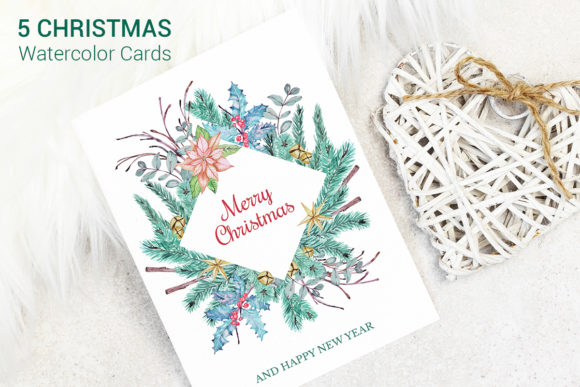 Print on Demand: Greeting Christmas Cards Set Graphic Illustrations By PawStudio