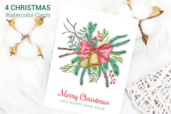 Download Free Christmas Cards Watercolor Clipart Graphic By Pawstudio for Cricut Explore, Silhouette and other cutting machines.