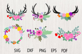 Download Free Floral Antlers Flower Graphic By Yulnniya Creative Fabrica for Cricut Explore, Silhouette and other cutting machines.