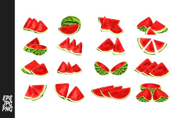 Print on Demand: Red Watermelons Vector Bundle Graphic Crafts By Arief Sapta Adjie