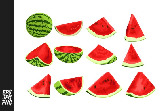 Print on Demand: Collection of Red Watermelons Graphic Crafts By Arief Sapta Adjie - Image 1