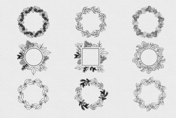 Download Free Hand Drawn Wreaths Frames And Branches Graphic By Kirill S for Cricut Explore, Silhouette and other cutting machines.