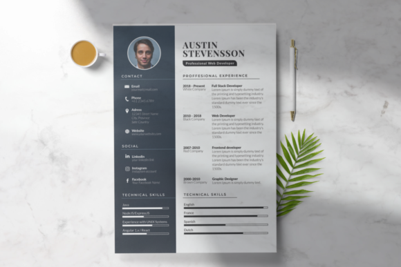 Elegant Resume Template Graphic Print Templates By duasago