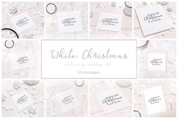 Print on Demand: White Christmas 18 Stationery Mockups Graphic Product Mockups By Natalia Arkusha