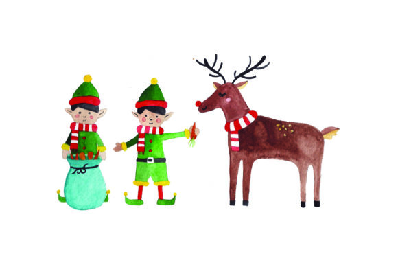 Download Free Elves Feeding Reindeer Watercolor Svg Cut File By Creative for Cricut Explore, Silhouette and other cutting machines.