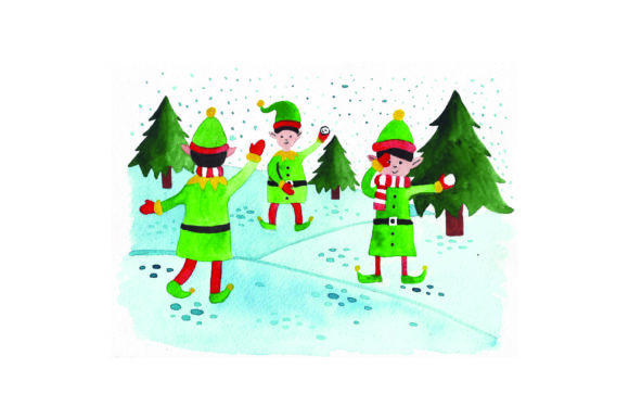 Download Free Elves Having A Snowball Fight Watercolor Svg Cut File By for Cricut Explore, Silhouette and other cutting machines.